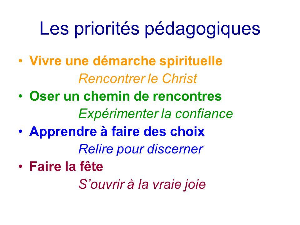 Les priorités pédagogiques Vivre une démarche spirituelle Rencontrer le Christ Oser un chemin de rencontres Expérimenter la confiance Apprendre à fair