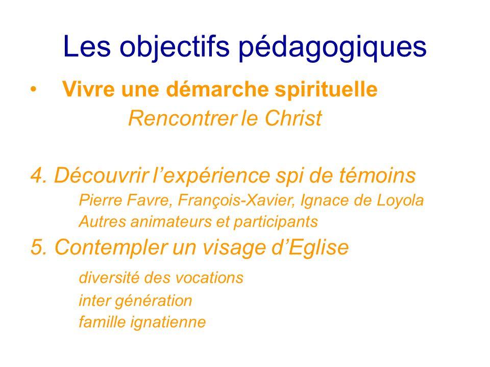 Les objectifs pédagogiques Vivre une démarche spirituelle Rencontrer le Christ 4. Découvrir lexpérience spi de témoins Pierre Favre, François-Xavier,