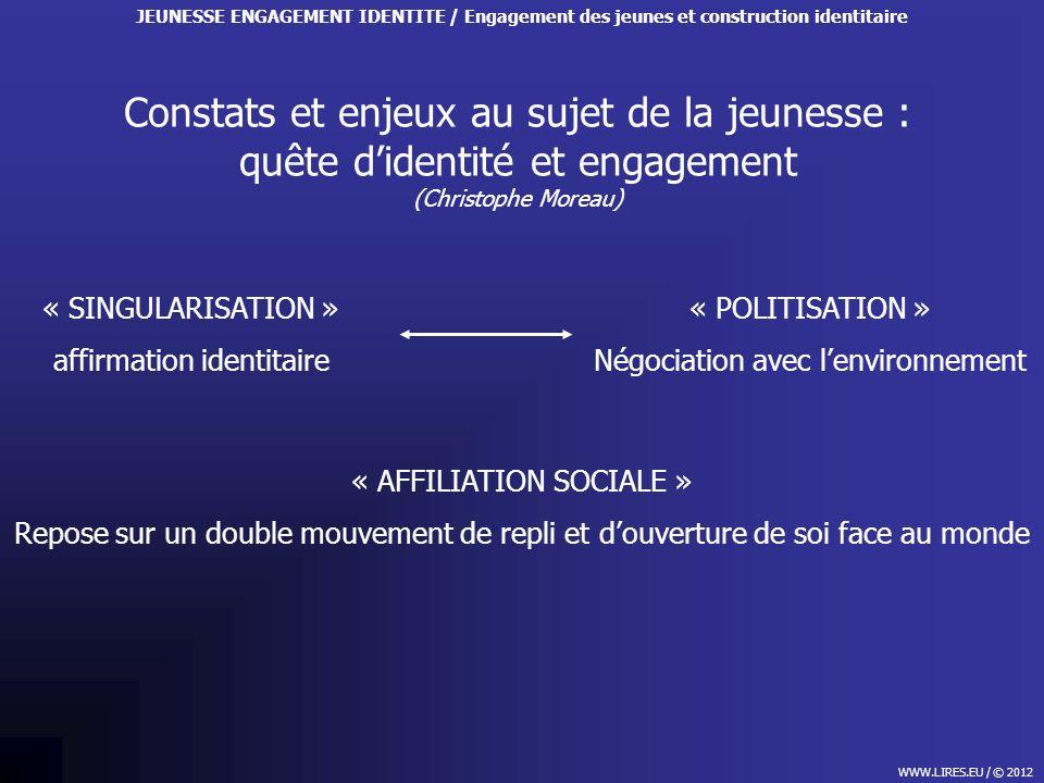 Constats et enjeux au sujet de la jeunesse : quête didentité et engagement (Christophe Moreau) WWW.LIRES.EU / © 2012 JEUNESSE ENGAGEMENT IDENTITE / En