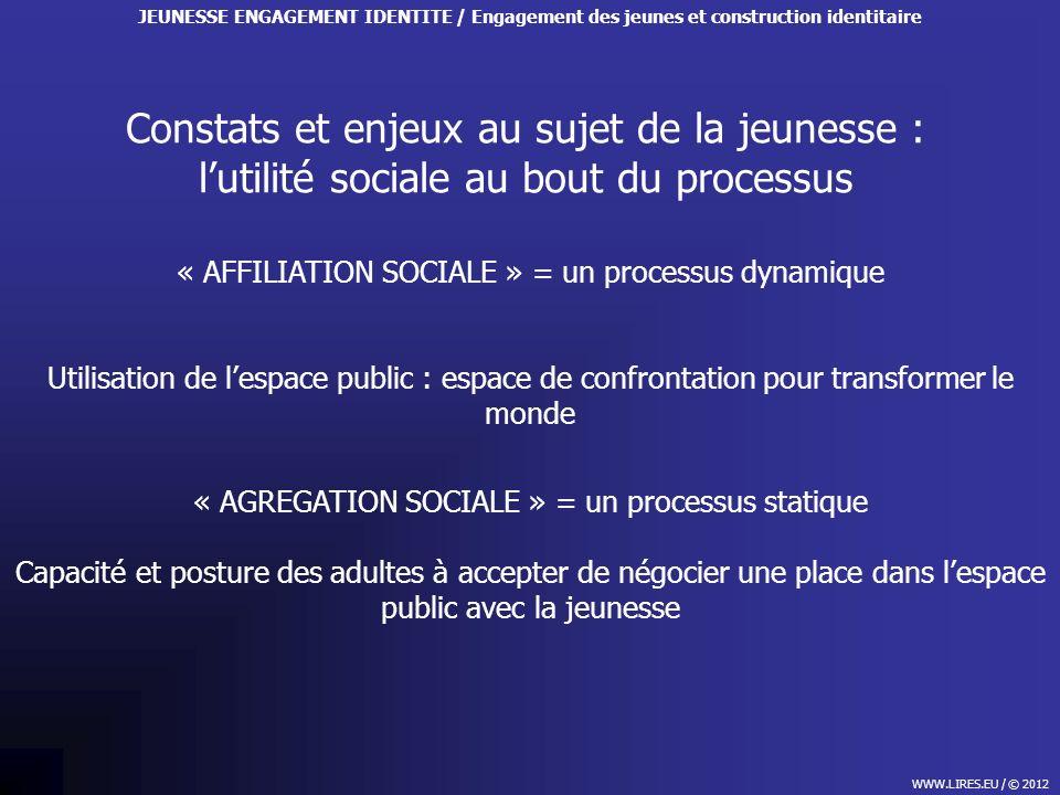 Constats et enjeux au sujet de la jeunesse : lutilité sociale au bout du processus WWW.LIRES.EU / © 2012 JEUNESSE ENGAGEMENT IDENTITE / Engagement des