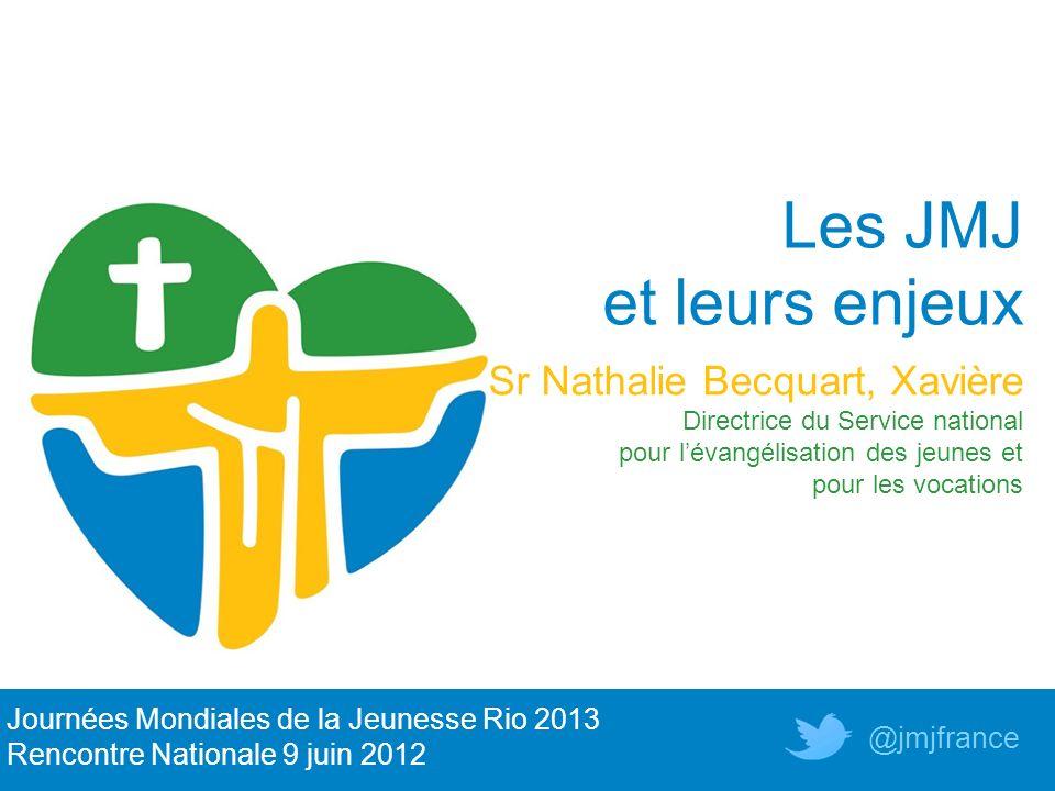 Les JMJ et leurs enjeux Sr Nathalie Becquart, Xavière Directrice du Service national pour lévangélisation des jeunes et pour les vocations Journées Mo