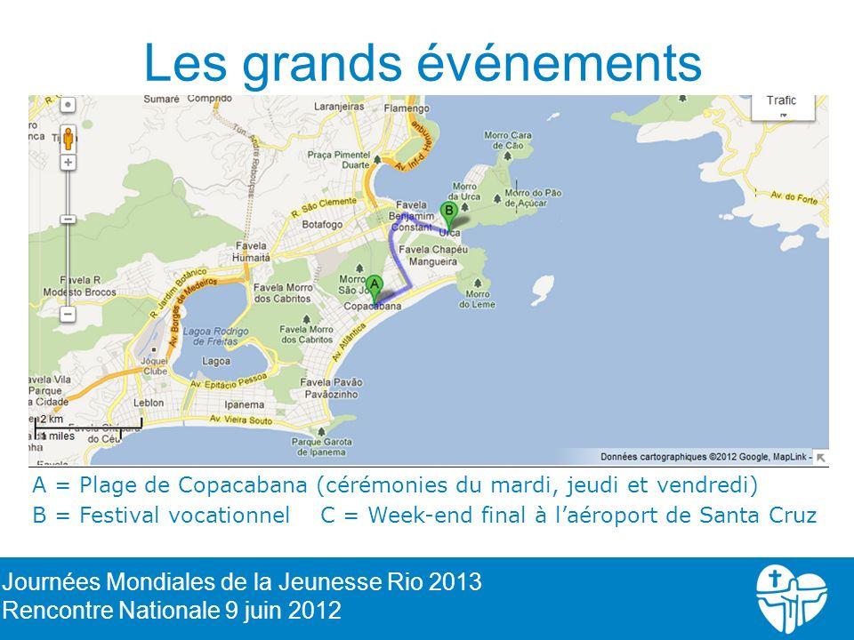 Les grands événements A = Plage de Copacabana (cérémonies du mardi, jeudi et vendredi) B = Festival vocationnel C = Week-end final à laéroport de Sant