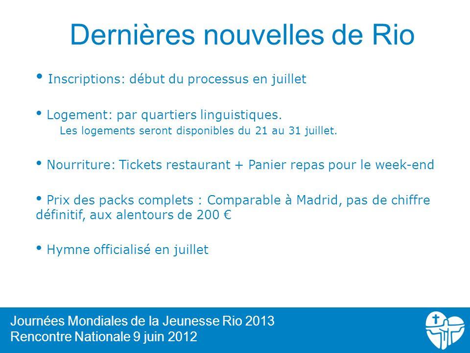 Dernières nouvelles de Rio Inscriptions: début du processus en juillet Logement: par quartiers linguistiques. Les logements seront disponibles du 21 a