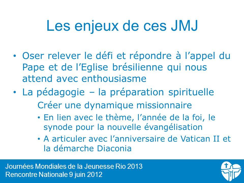 Les enjeux de ces JMJ Oser relever le défi et répondre à lappel du Pape et de lEglise brésilienne qui nous attend avec enthousiasme La pédagogie – la