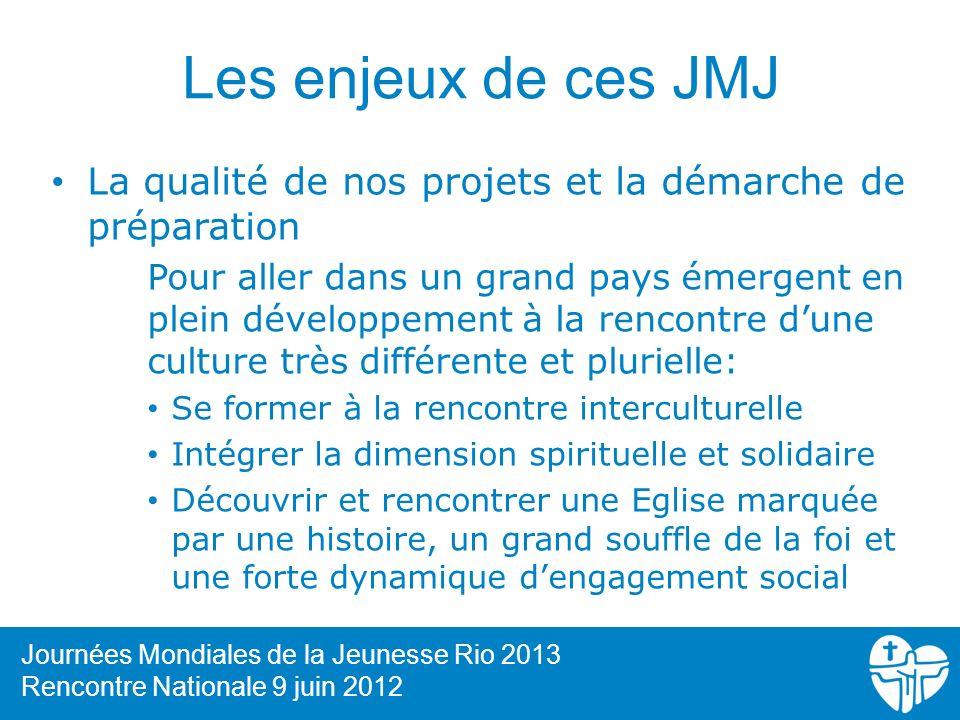 Les enjeux de ces JMJ La qualité de nos projets et la démarche de préparation Pour aller dans un grand pays émergent en plein développement à la renco