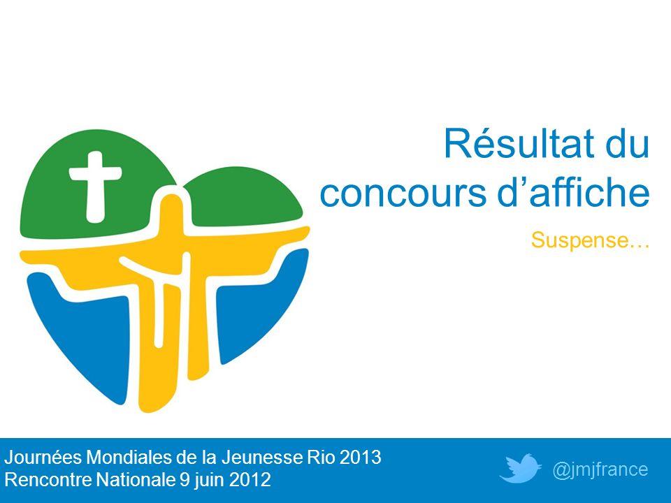 Résultat du concours daffiche Suspense… Journées Mondiales de la Jeunesse Rio 2013 Rencontre Nationale 9 juin 2012 @jmjfrance