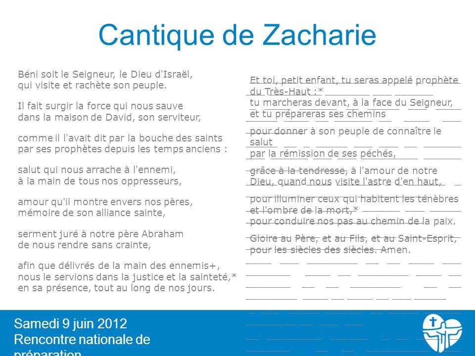 Cantique de Zacharie 6 Samedi 9 juin 2012 Rencontre nationale de préparation Béni soit le Seigneur, le Dieu d'Israël, qui visite et rachète son peuple