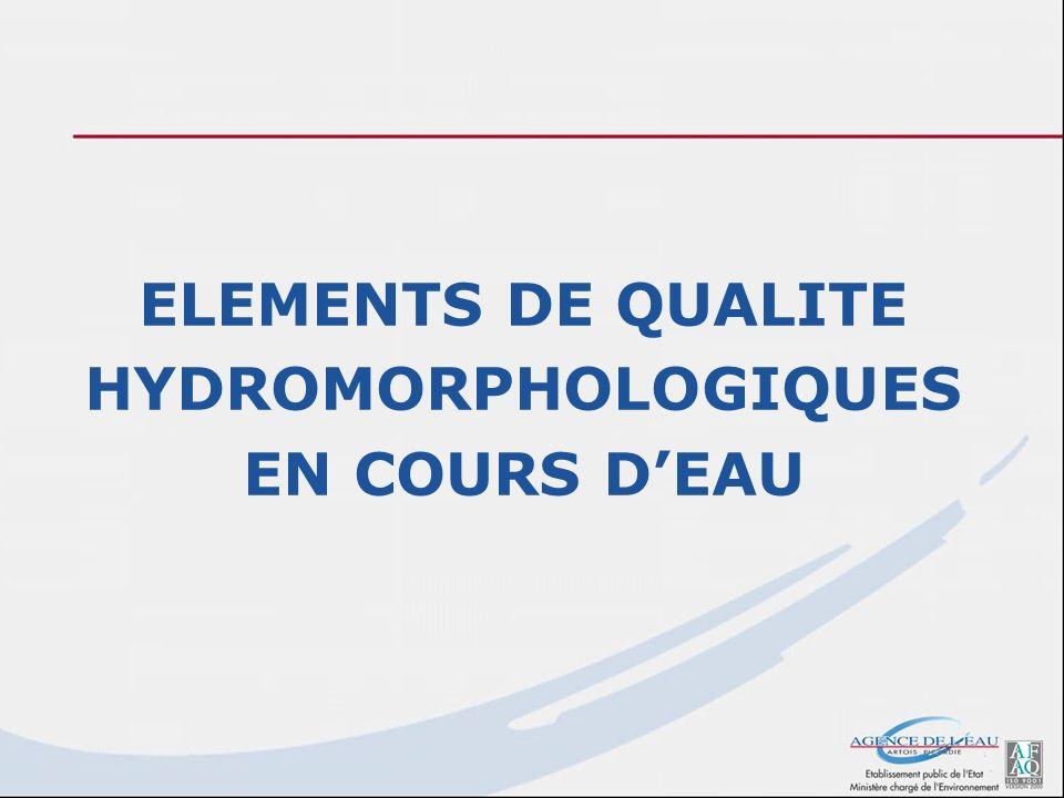 ELEMENTS DE QUALITE HYDROMORPHOLOGIQUES EN COURS DEAU