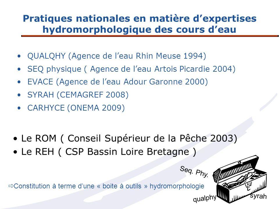 Pratiques nationales en matière dexpertises hydromorphologique des cours deau QUALQHY (Agence de leau Rhin Meuse 1994) SEQ physique ( Agence de leau A