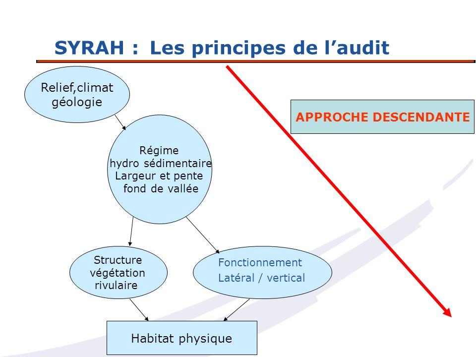 SYRAH :Les principes de laudit Relief,climat géologie Régime hydro sédimentaire Largeur et pente fond de vallée Structure végétation rivulaire Fonctio