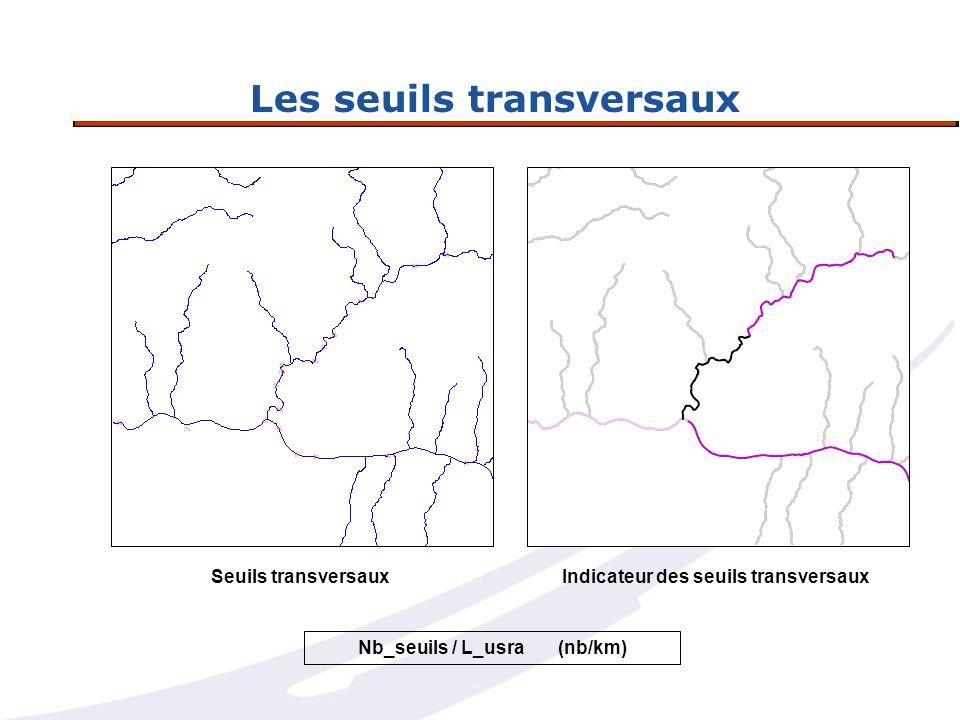 Les seuils transversaux Indicateur des seuils transversauxSeuils transversaux Nb_seuils / L_usra (nb/km)