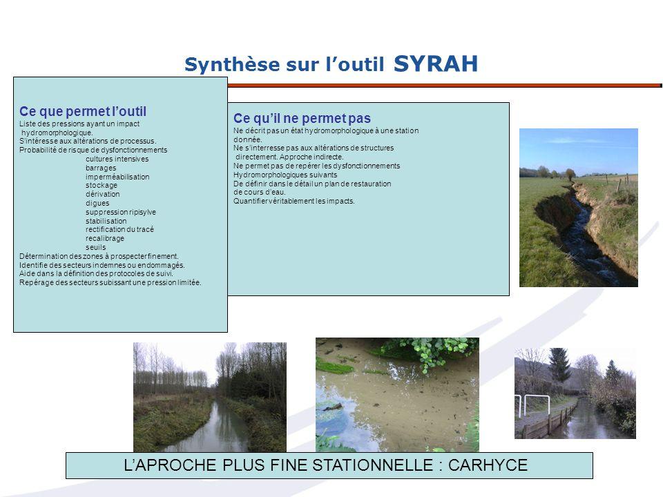 Synthèse sur loutil SYRAH Ce que permet loutil Liste des pressions ayant un impact hydromorphologique. Sintéresse aux altérations de processus. Probab