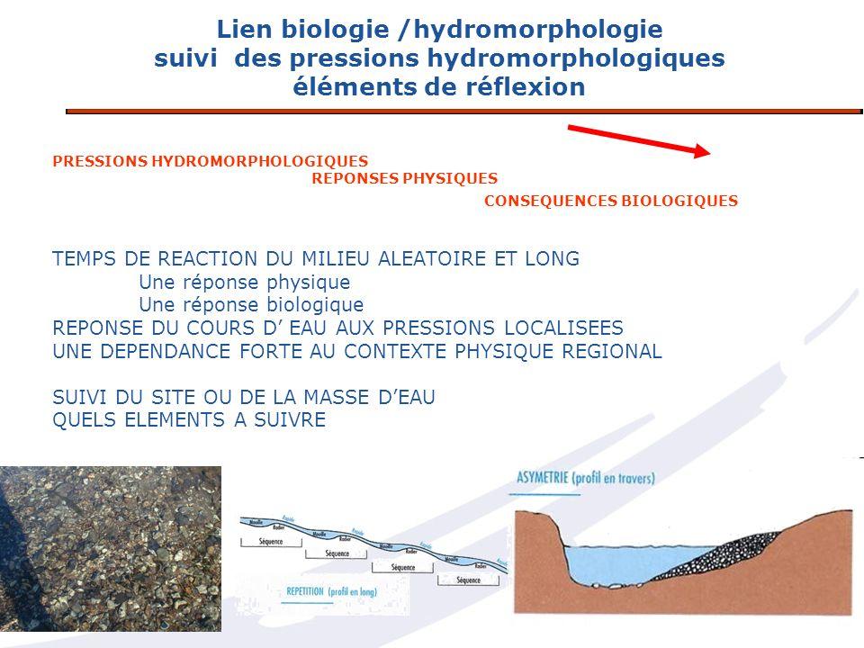 Lien biologie /hydromorphologie suivi des pressions hydromorphologiques éléments de réflexion PRESSIONS HYDROMORPHOLOGIQUES REPONSES PHYSIQUES CONSEQU