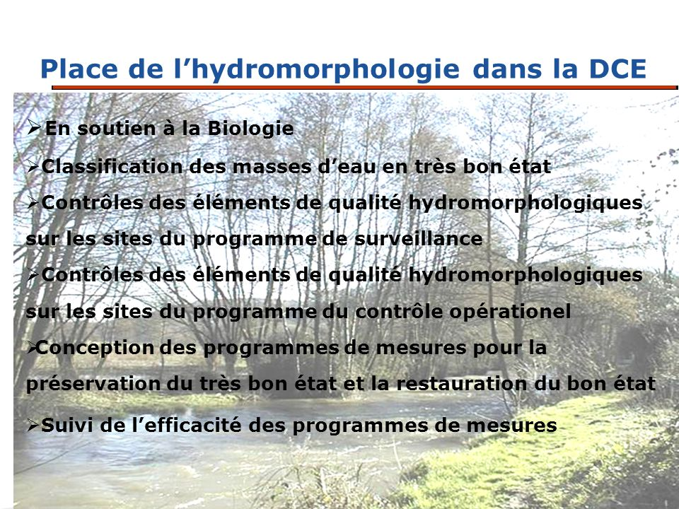 Place de lhydromorphologie dans la DCE En soutien à la Biologie Classification des masses deau en très bon état Contrôles des éléments de qualité hydr