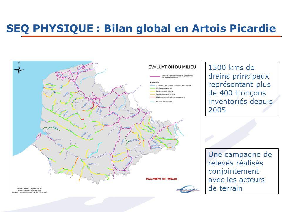 SEQ PHYSIQUE : Bilan global en Artois Picardie 1500 kms de drains principaux représentant plus de 400 tronçons inventoriés depuis 2005 Une campagne de