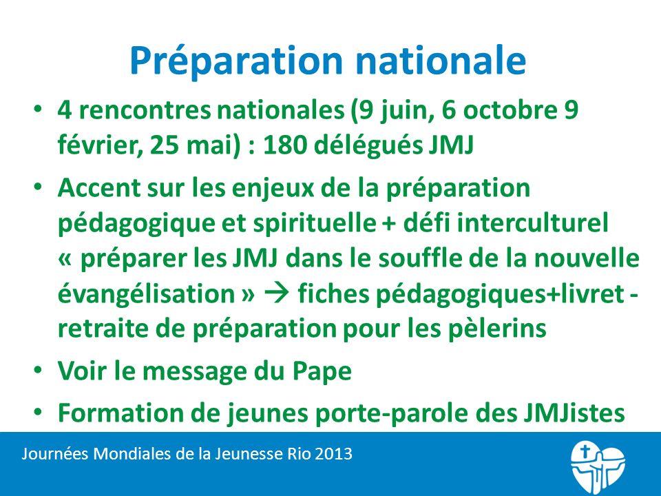 Préparation nationale 4 rencontres nationales (9 juin, 6 octobre 9 février, 25 mai) : 180 délégués JMJ Accent sur les enjeux de la préparation pédagog