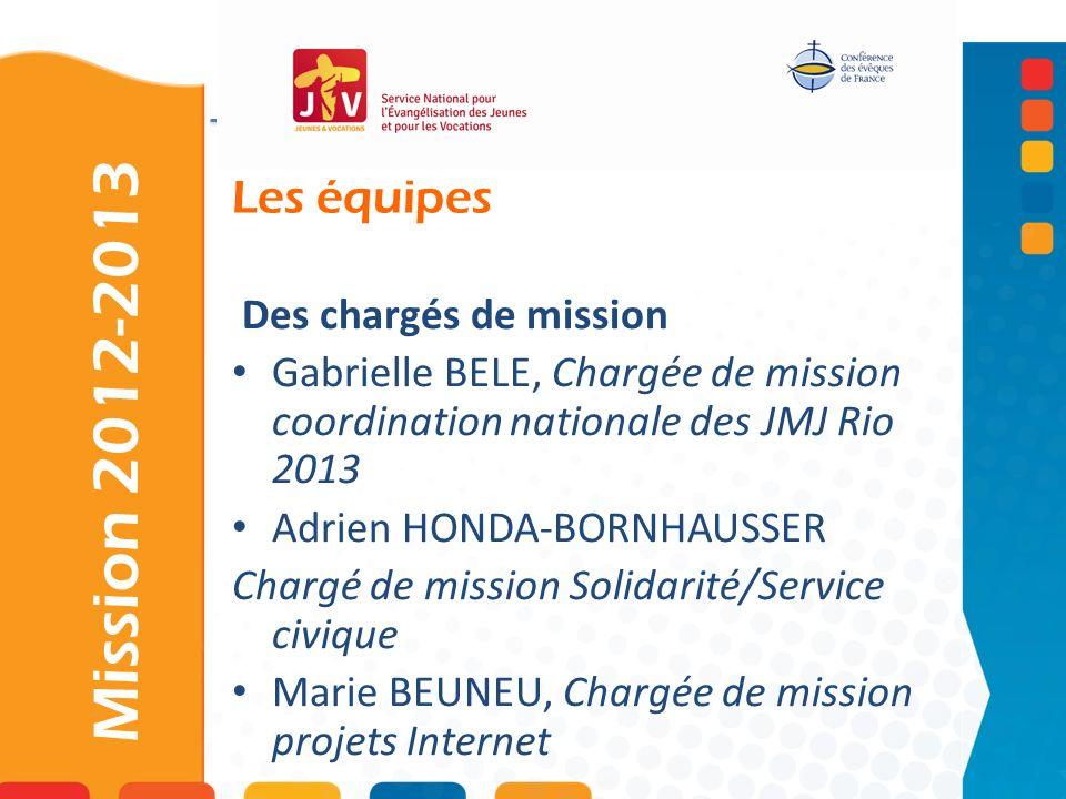Les équipes Mission 2012-2013 Des chargés de mission Gabrielle BELE, Chargée de mission coordination nationale des JMJ Rio 2013 Adrien HONDA-BORNHAUSS