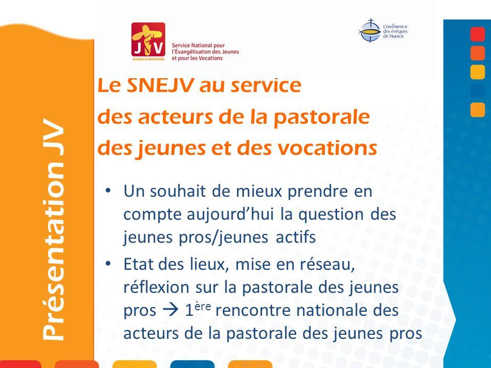 Le SNEJV au service des acteurs de la pastorale des jeunes et des vocations Présentation JV Un souhait de mieux prendre en compte aujourdhui la questi