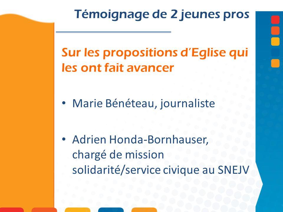 Sur les propositions dEglise qui les ont fait avancer Témoignage de 2 jeunes pros Marie Bénéteau, journaliste Adrien Honda-Bornhauser, chargé de missi
