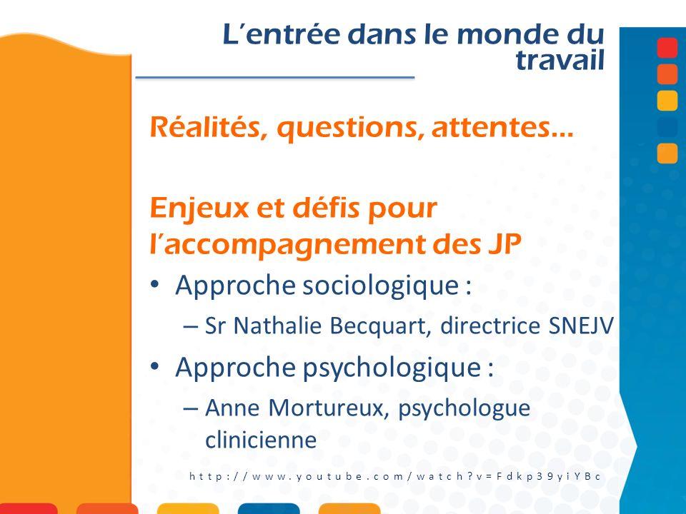Réalités, questions, attentes… Enjeux et défis pour laccompagnement des JP Lentrée dans le monde du travail http://www.youtube.com/watch?v=Fdkp39yiYBc