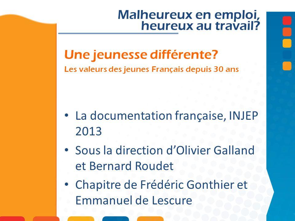 Une jeunesse différente? Les valeurs des jeunes Français depuis 30 ans Malheureux en emploi, heureux au travail? La documentation française, INJEP 201