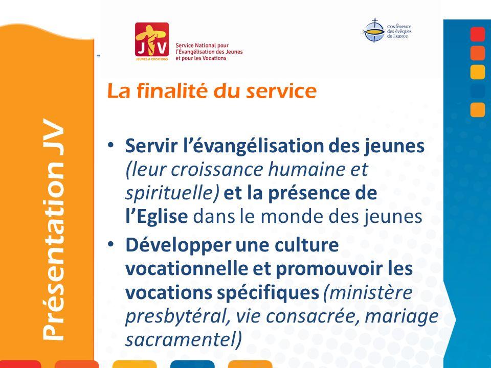 La finalité du service Présentation JV Servir lévangélisation des jeunes (leur croissance humaine et spirituelle) et la présence de lEglise dans le mo