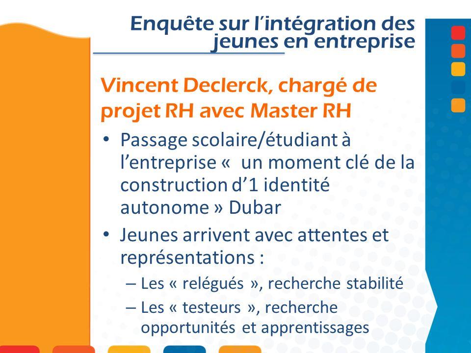 Vincent Declerck, chargé de projet RH avec Master RH Enquête sur lintégration des jeunes en entreprise Passage scolaire/étudiant à lentreprise « un mo