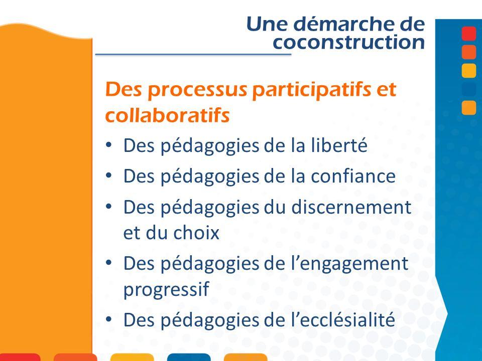 Des processus participatifs et collaboratifs Une démarche de coconstruction Des pédagogies de la liberté Des pédagogies de la confiance Des pédagogies