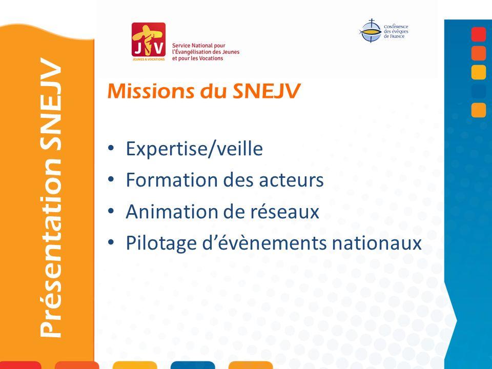 Missions du SNEJV Présentation SNEJV Expertise/veille Formation des acteurs Animation de réseaux Pilotage dévènements nationaux