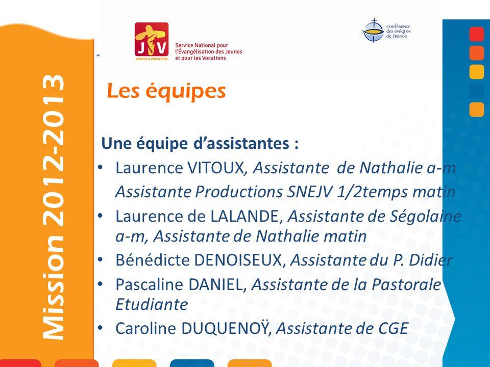 Les équipes Mission 2012-2013 Une équipe dassistantes : Laurence VITOUX, Assistante de Nathalie a-m Assistante Productions SNEJV 1/2temps matin Lauren