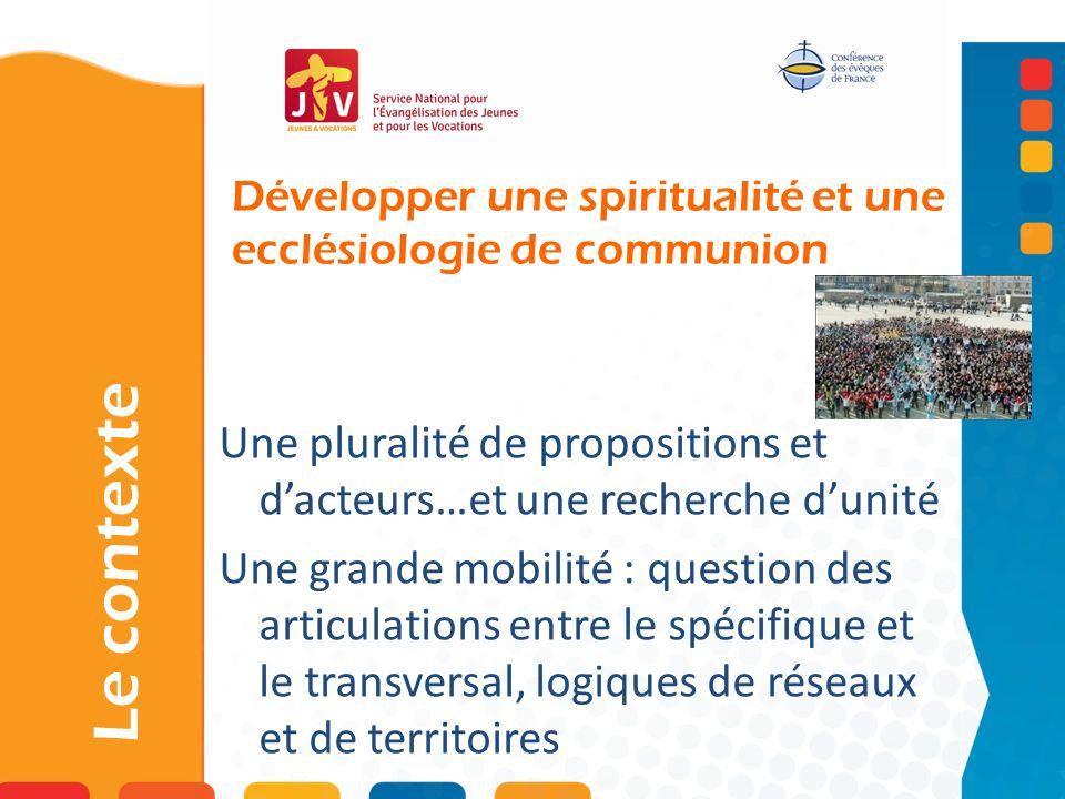 Développer une spiritualité et une ecclésiologie de communion Le contexte Une pluralité de propositions et dacteurs…et une recherche dunité Une grande