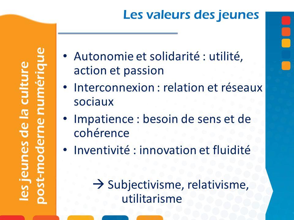 les jeunes de la culture post-moderne numérique Les valeurs des jeunes Autonomie et solidarité : utilité, action et passion Interconnexion : relation