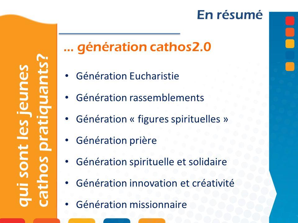 … génération cathos2.0 qui sont les jeunes cathos pratiquants? En résumé Génération Eucharistie Génération rassemblements Génération « figures spiritu