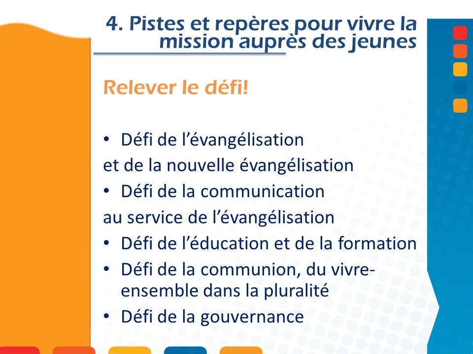 Relever le défi! 4. Pistes et repères pour vivre la mission auprès des jeunes Défi de lévangélisation et de la nouvelle évangélisation Défi de la comm