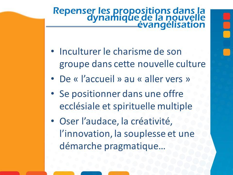 Repenser les propositions dans la dynamique de la nouvelle évangélisation Inculturer le charisme de son groupe dans cette nouvelle culture De « laccue