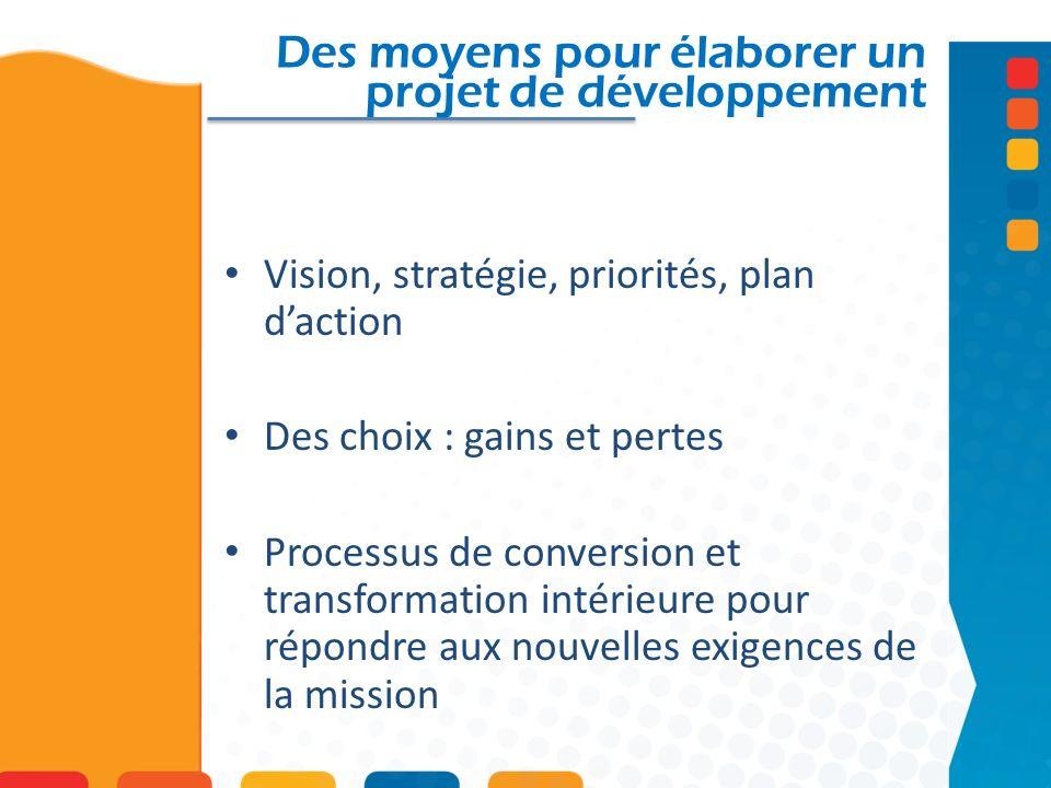 Des moyens pour élaborer un projet de développement Vision, stratégie, priorités, plan daction Des choix : gains et pertes Processus de conversion et transformation intérieure pour répondre aux nouvelles exigences de la mission
