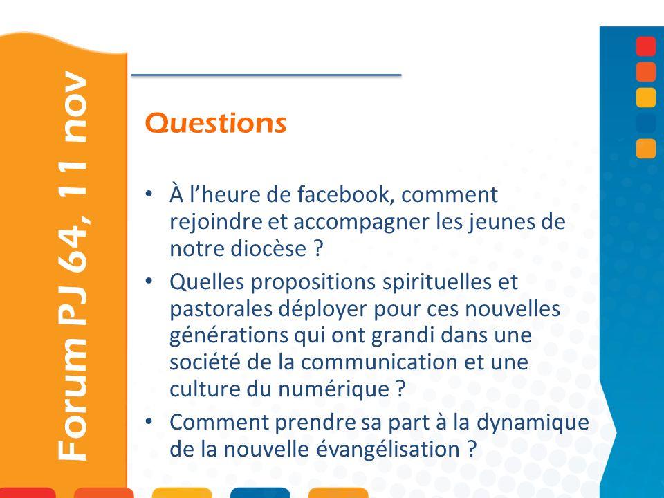 Questions Forum PJ 64, 11 nov À lheure de facebook, comment rejoindre et accompagner les jeunes de notre diocèse ? Quelles propositions spirituelles e