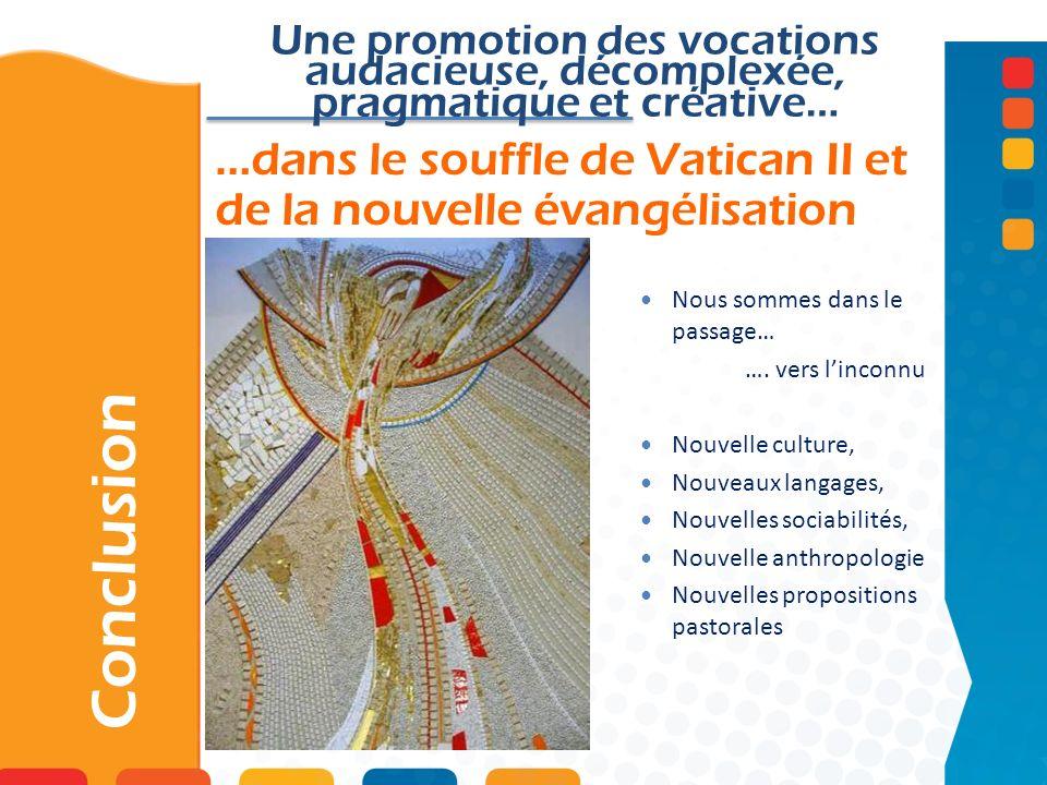 …dans le souffle de Vatican II et de la nouvelle évangélisation Conclusion Une promotion des vocations audacieuse, décomplexée, pragmatique et créative… Nous sommes dans le passage… ….