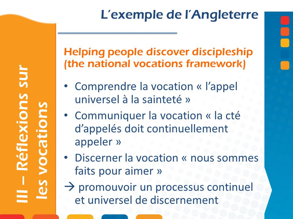 Helping people discover discipleship (the national vocations framework) III – Réflexions sur les vocations Lexemple de lAngleterre Comprendre la vocat
