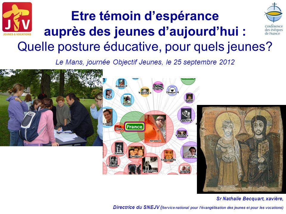 Etre témoin despérance auprès des jeunes daujourdhui : Quelle posture éducative, pour quels jeunes? Le Mans, journée Objectif Jeunes, le 25 septembre
