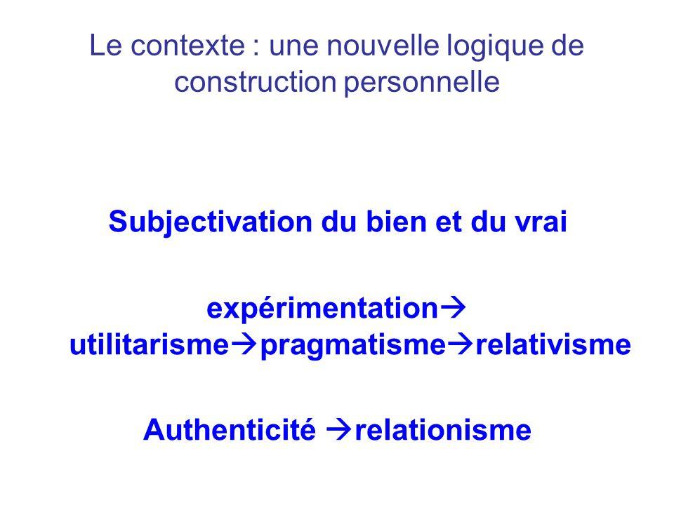 Le contexte : une nouvelle logique de construction personnelle Subjectivation du bien et du vrai expérimentation utilitarisme pragmatisme relativisme