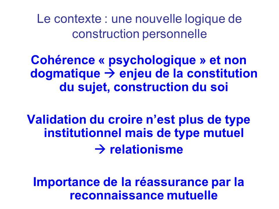 Le contexte : une nouvelle logique de construction personnelle Cohérence « psychologique » et non dogmatique enjeu de la constitution du sujet, constr