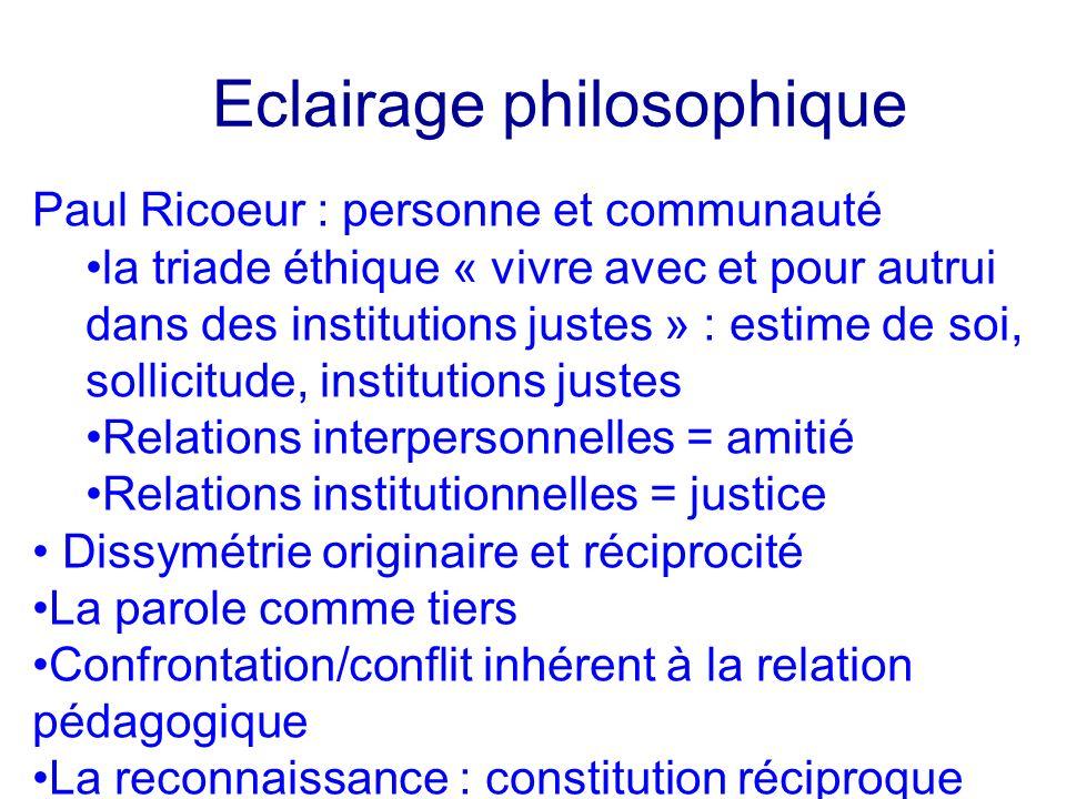Eclairage philosophique Paul Ricoeur : personne et communauté la triade éthique « vivre avec et pour autrui dans des institutions justes » : estime de