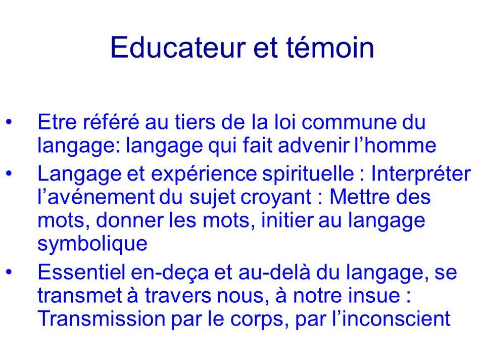 Educateur et témoin Etre référé au tiers de la loi commune du langage: langage qui fait advenir lhomme Langage et expérience spirituelle : Interpréter