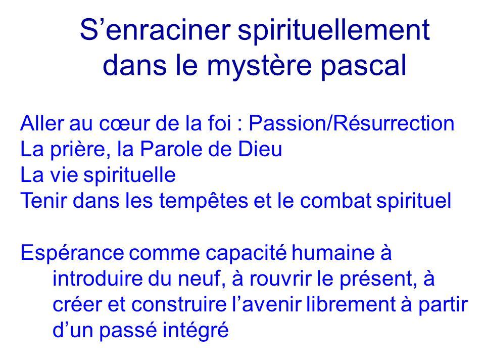 Senraciner spirituellement dans le mystère pascal Aller au cœur de la foi : Passion/Résurrection La prière, la Parole de Dieu La vie spirituelle Tenir