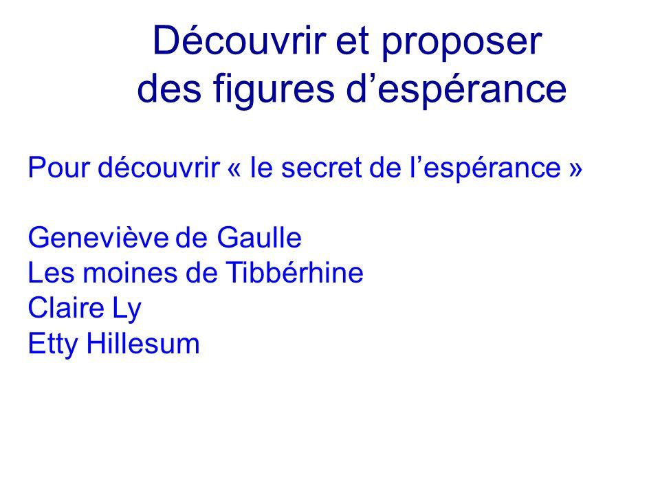 Découvrir et proposer des figures despérance Pour découvrir « le secret de lespérance » Geneviève de Gaulle Les moines de Tibbérhine Claire Ly Etty Hi