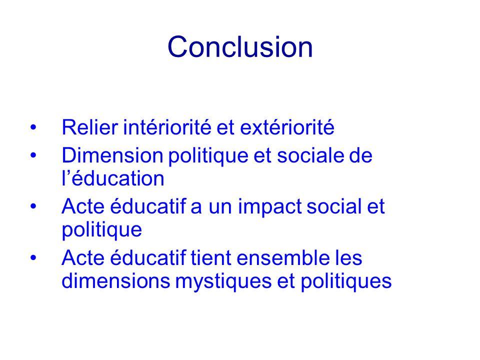 Conclusion Relier intériorité et extériorité Dimension politique et sociale de léducation Acte éducatif a un impact social et politique Acte éducatif
