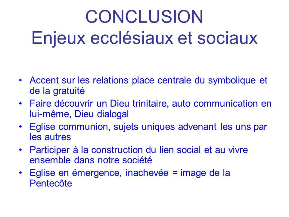 CONCLUSION Enjeux ecclésiaux et sociaux Accent sur les relations place centrale du symbolique et de la gratuité Faire découvrir un Dieu trinitaire, au