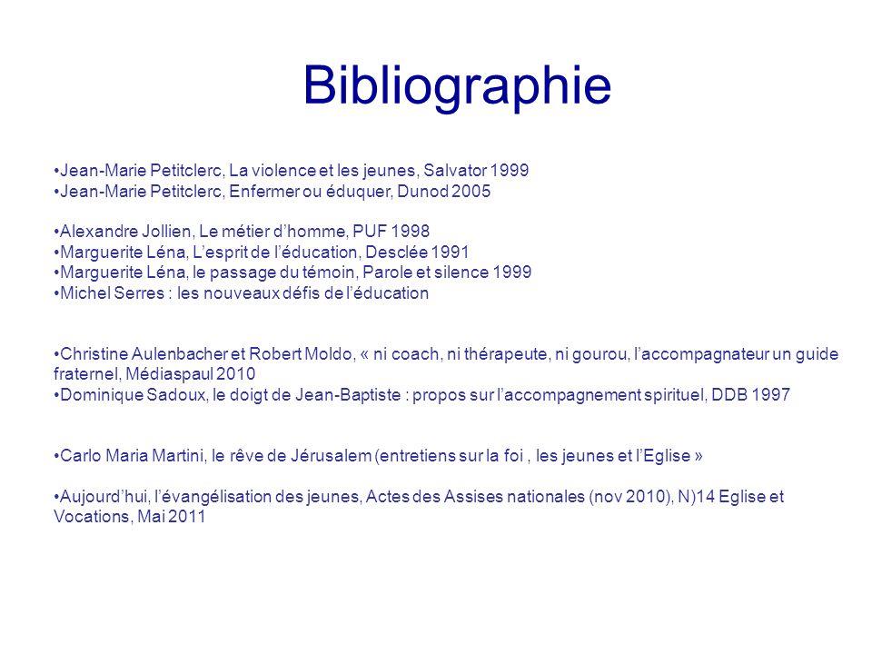 Bibliographie Jean-Marie Petitclerc, La violence et les jeunes, Salvator 1999 Jean-Marie Petitclerc, Enfermer ou éduquer, Dunod 2005 Alexandre Jollien