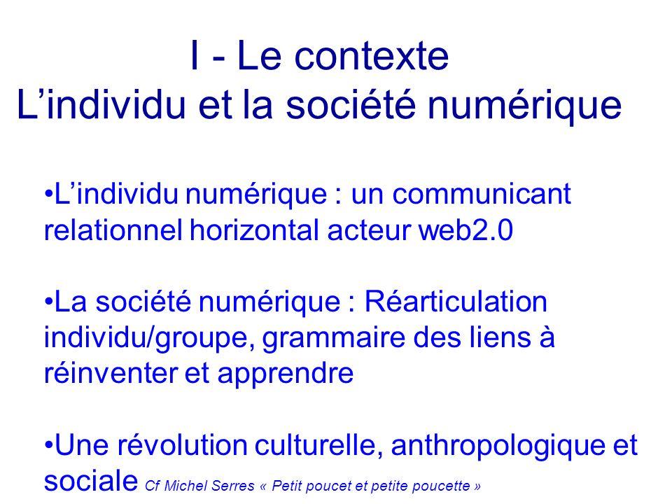 Lindividu numérique : un communicant relationnel horizontal acteur web2.0 La société numérique : Réarticulation individu/groupe, grammaire des liens à